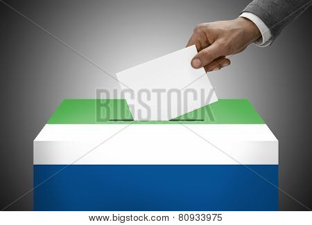 Ballot Box Painted Into National Flag Colors - Sierra Leone