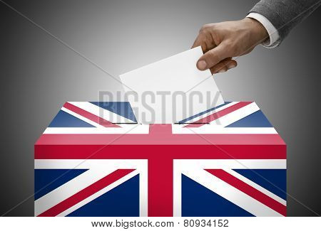 Ballot Box Painted Into National Flag Colors - United Kingdom
