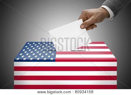 Ballot Box Painted Into National Flag Colors - United States