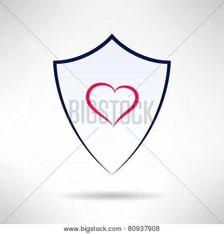 Heart and love simple shield icon. Vector
