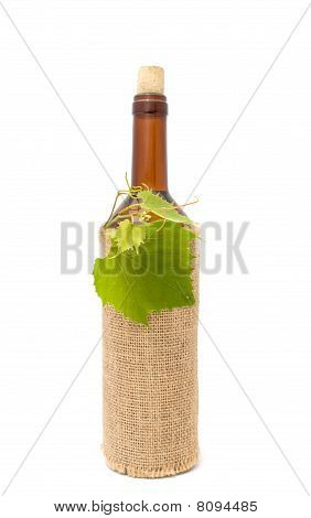 Bottle of White Wine in Sackcloth
