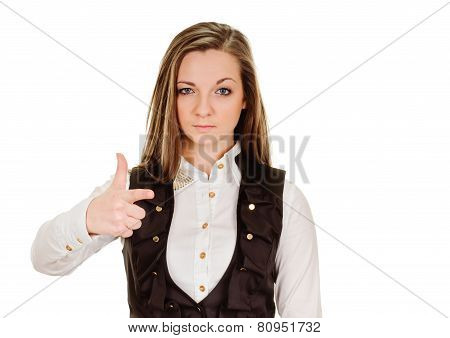 young woman pointing finger