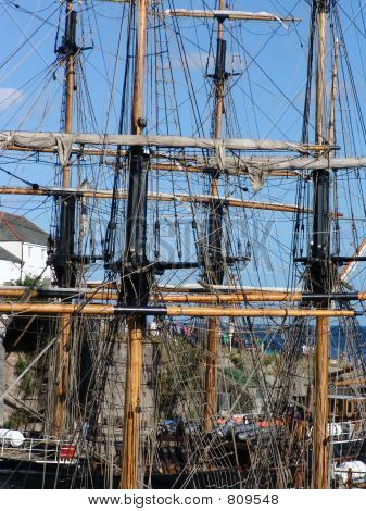 mastheads of two tallships