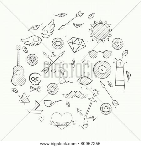 Hand Drawn Set Of Hipster Elements Over Beige