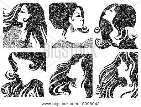 Vector set of grunge closeup silhouette portraits of beautiful woman with long hair poster