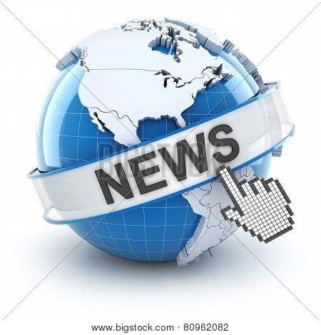 World news symbol, 3d render