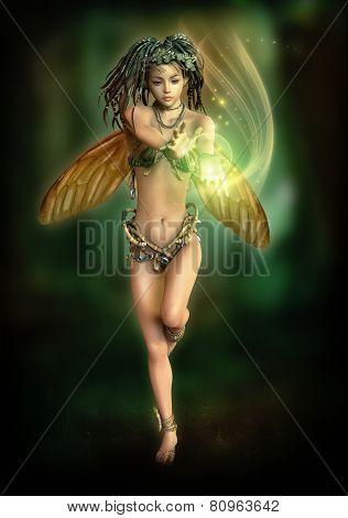 Fairy With A Shining Ball, 3D Cg