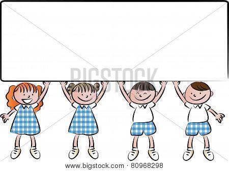 school kids with blank sign borad