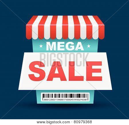 Mega Sale shop banner design with barcode. Vector illustration.