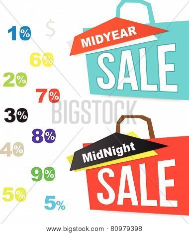 Sale bag icons with number percent. for midnight and mid year sale.