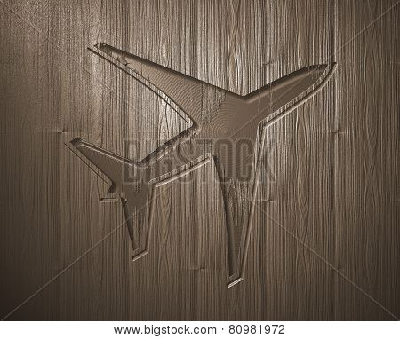 Airplane Relief Wood Engraving