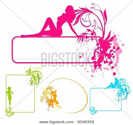 grunge banner with silhouette of girl and blots poster