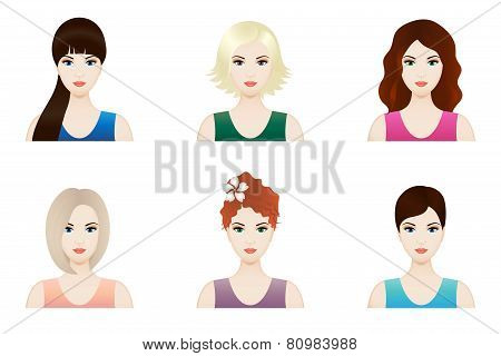 Illustration of beautiful girl faces with different hairstyle, vector