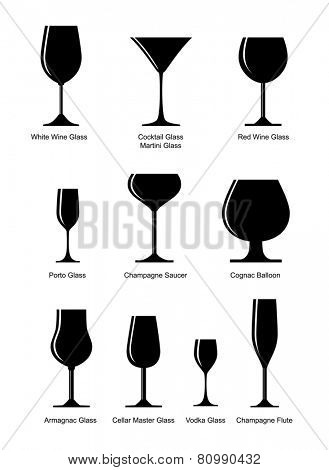 collection of black alcoholic glass