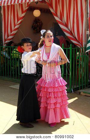Spanish girls at the Seville Fair.