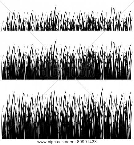 vector set of silhouette grass