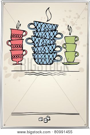 cup of tea or coffee. Retro style for menu. eps10