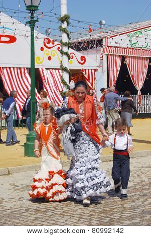 Spanish family at the Seville Fair.