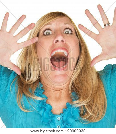 Screaming Woman With Hands Up