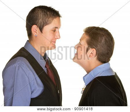 Boyish Couple Staring At Each Other
