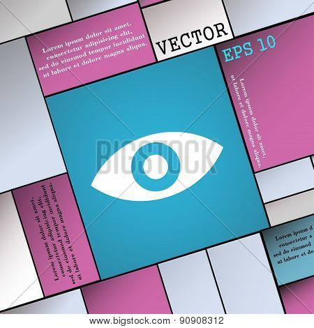 Eye, Publish Content, Sixth Sense, Intuition  Icon Sign. Modern Flat Style For Your Design. Vector