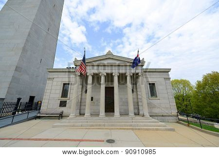 Bunker Hill Granite Lodge with Classical Revival style, was built to serve as a commemorative building at the base of the Bunker Hill Monument, Charlestown, Boston, Massachusetts, USA. Bunker Hill Lodge is the last stop of famous Freedom Trail in Boston. poster