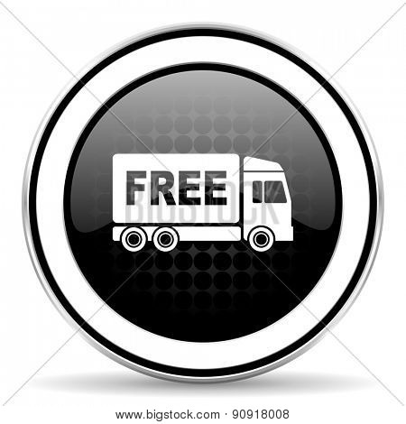 free delivery icon, black chrome button, transport sign  poster