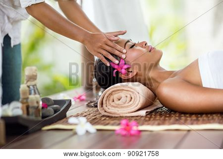 Spa massage, facial massage outdoor nature, beauty treatments poster