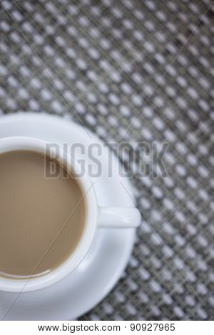Coffee Expresso With Milk In Cup And Saucer From Above