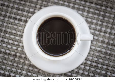 Coffee Expresso In Cup And Saucer From Above