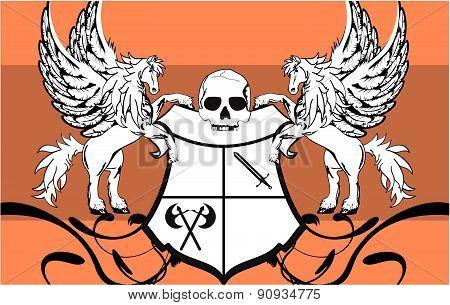 heraldic pegasus shield background
