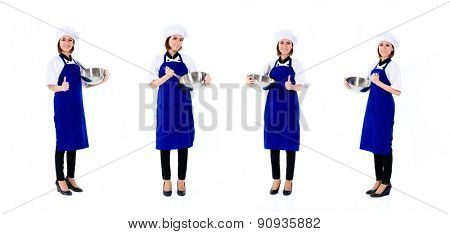 Asian chef, professional woman, compositing of four scenes, isolated on white background
