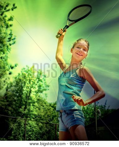 Girl sportsman with racket and ball in the sun and green trees. Toned image.