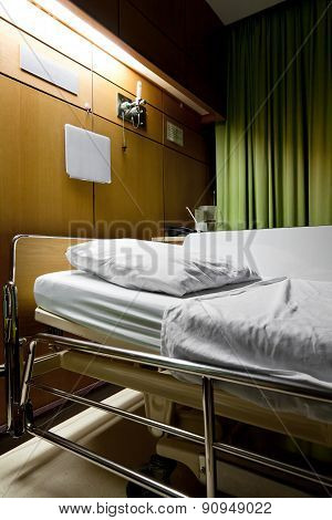 Clean Empty Sickbed In A Hospital Ward