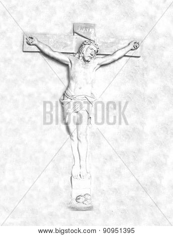 Crucifixion and resurrection of Jesus Christ on the cross , raster poster
