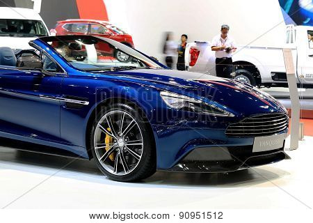 Bonnet Of Blue Aston Martin Series Vanquish