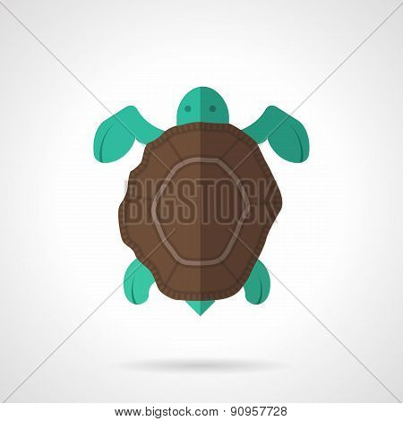Brown turtle flat vector icon