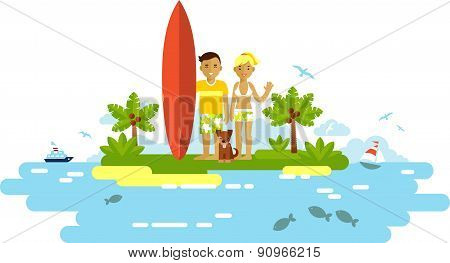 Young surfer man and woman couple with surfboard on the beach
