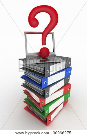 Colored office folders with question-mark on a laptop. 3d illustration isolated on the white background.