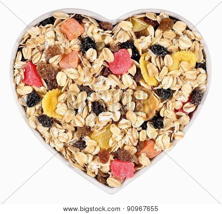 Musli  In Plate In The Form Of Heart In A White