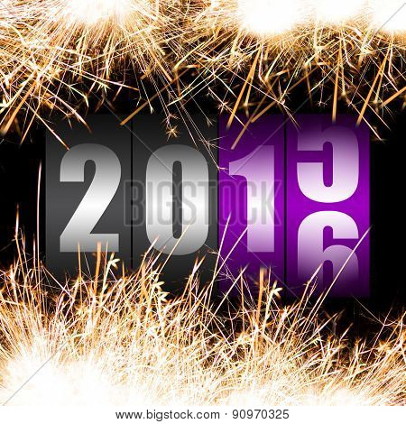 Happy New Year 2016 with sparkles