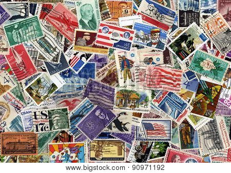 A large USA postage stamp collection background poster