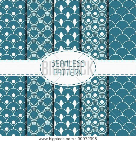 Set of geometric national blue japanese seamless pattern. Collection of wrapping paper. Paper for sc