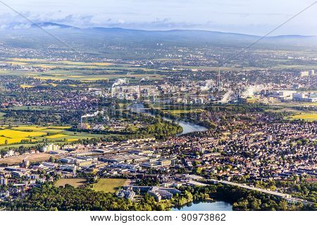 Aerial Of Farmland And Industry Plant Of Frankfurt Hoechst, Germany