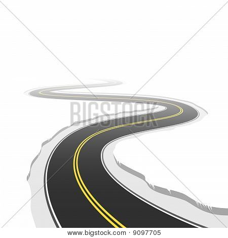 The vector illustration of a winding road poster