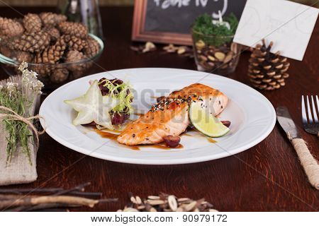 salmon with sesame seeds style forest cones idea food