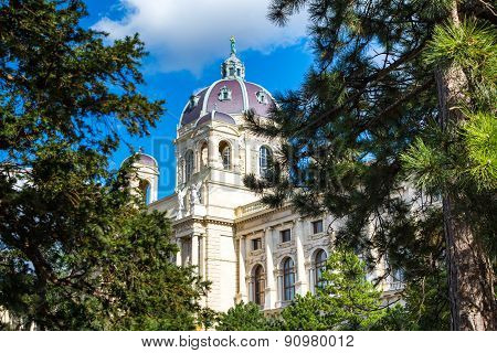 Beautiful view of famous Naturhistorisches Museum, Natural History Museum through the pine trees in Vienna, Austria poster