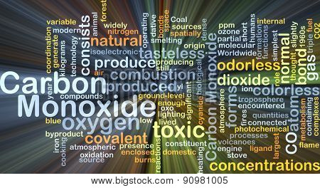 Background concept wordcloud illustration of carbon monoxide glowing light