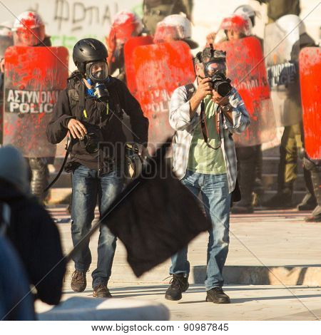 ATHENS, GREECE - CIRCA APR, 2015: Unknown photographers. Anarchist groups seeking abolition of new maximum security prisons, clashed with riot police, who responded with tear gas and stun grenades.