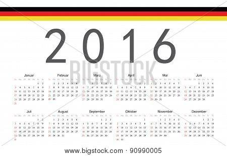 German 2016 Year Vector Calendar